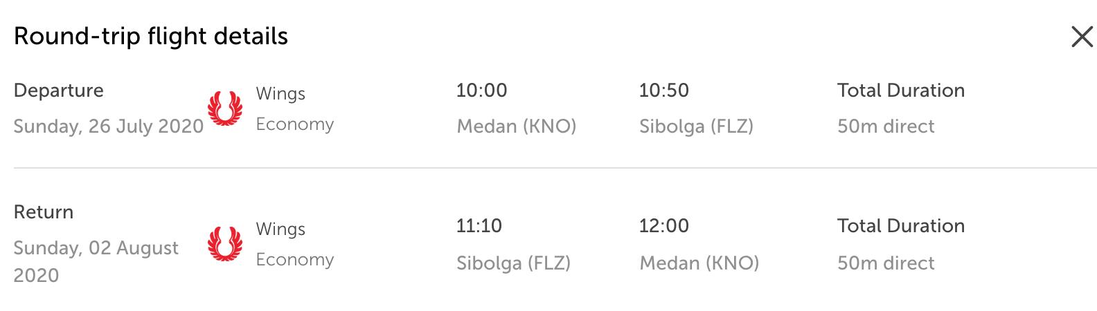 Flight Medan-Sibolga